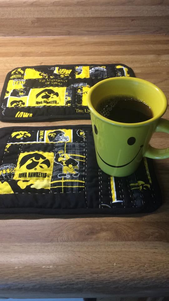 Mari Bruner- Super cute and useful Hawkeye Coffee Mug Rug. Go Hawks!
