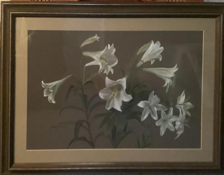 Lilies (watercolour on board)