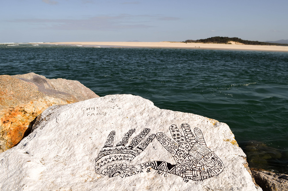 Adding our mark to the community art space at Nambucca Heads.