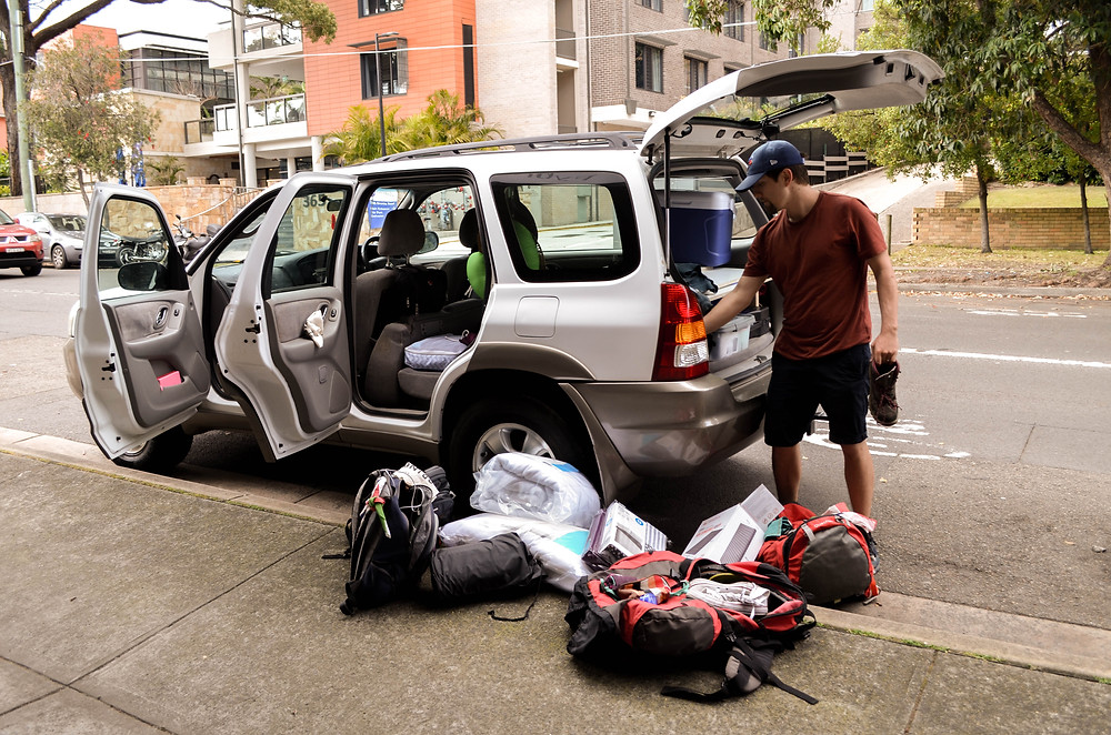 The car is ours, Now unpack and repack, a bit of organisation required.