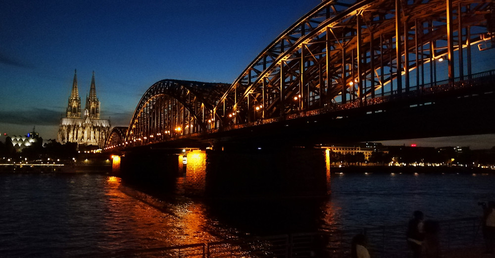 Köln's Hohenzollern bridge at night, quite stunning and a great spot fora drink.
