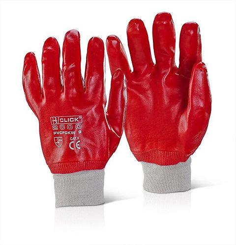 Red PVC Knit Wrist Glove