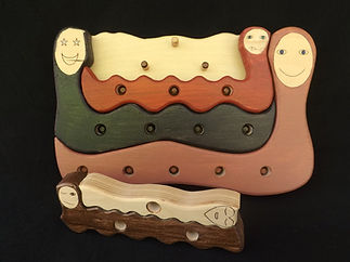 Eric Hoffman wooden toys worm family puzzle