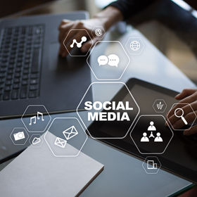 Social media concept on virtual screen.