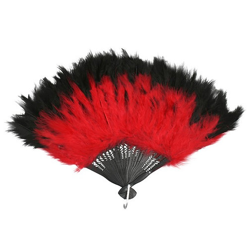 Black & Red Feathered Fan