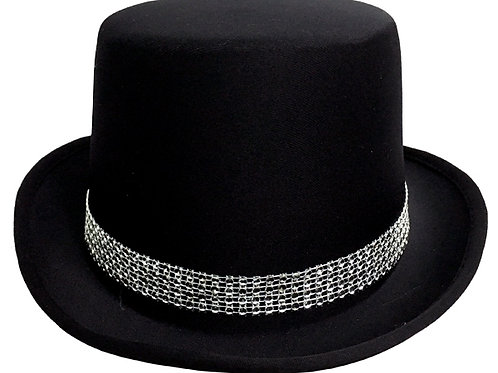 Black Top Hat with Diamante Band