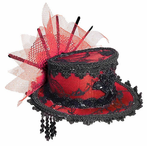 Mini Top Hat Red Lace