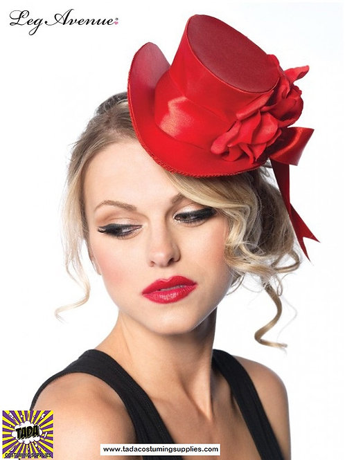 Satin Top Hat with Flower Accent