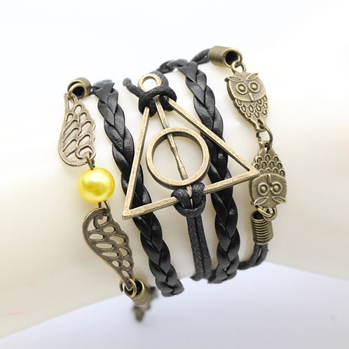 'Deathly Hallows' Leather Style Bracelet