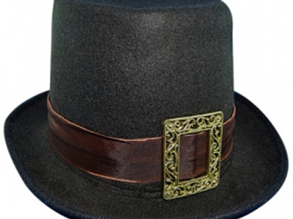 Black Top Hat with Buckle
