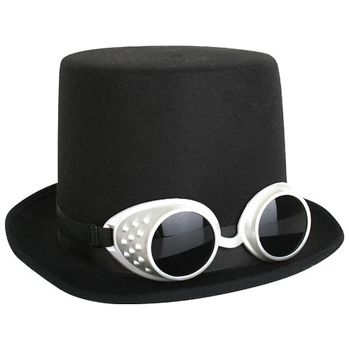 Black Top Hat with Goggles