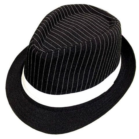 Gangster Style Black & White Hat