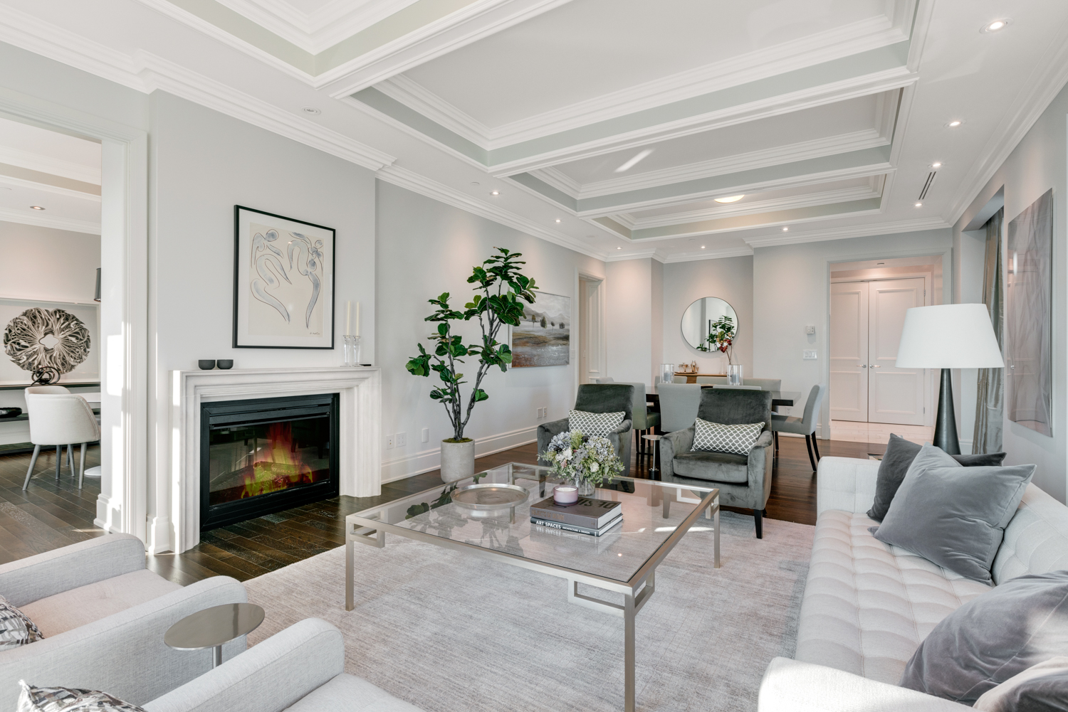 Living with fireplace