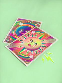 Sun and moon Riso prints - jasmine floyd