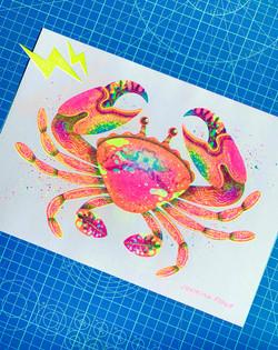 Crab risograph print - Jasmine Floyd