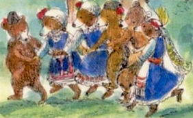 Dancing bears in Bulgarian costumes. Art by Mary Mischenko © 1995_edited.jpg