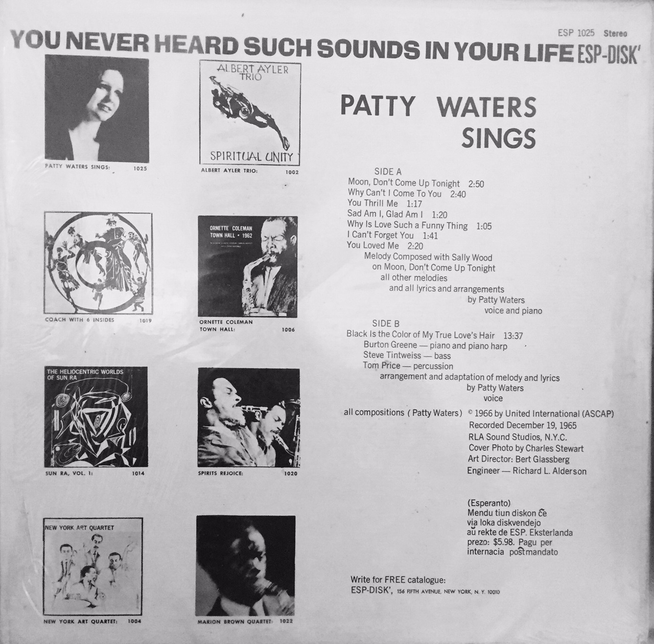 Patty Waters Sings Back Cover