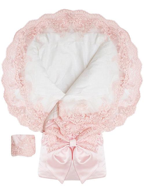 """Конверт-одеяло на выписку """"Королевский"""" АТЛАС (нежно розовый с розовым кружевом)"""