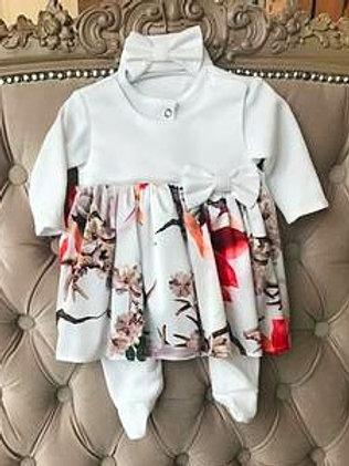 Комбинезон платье на выписку с цветочным принтом