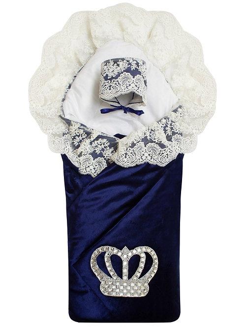 """Конверт-одеяло на выписку """"Императорский""""  (темно-синий с молочным кружевом и большой короной на липучке)"""