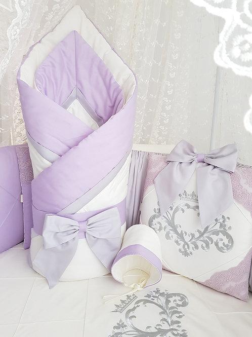 """Детский конверт одеяло для новорожденного на выписку""""Stella"""" сиреневый"""