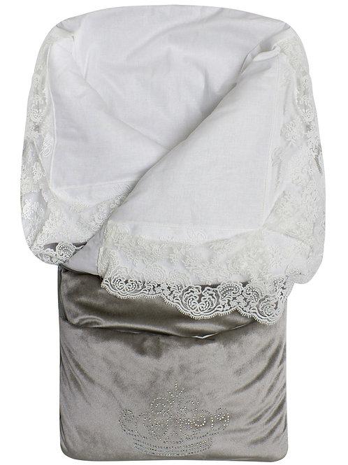 """Конверт-одеяло на выписку """"Герцог"""" (серый с молочным кружевом и стразами на молнии)"""