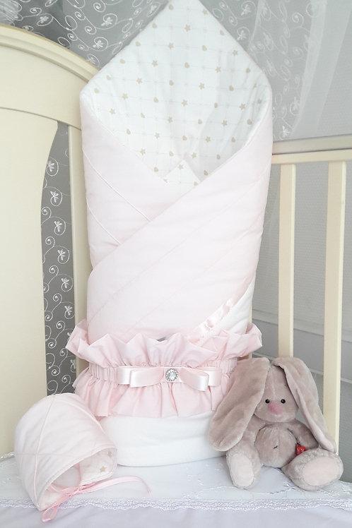 """Конверт-одеяло на выписку из роддома """"Plisse"""" pink"""
