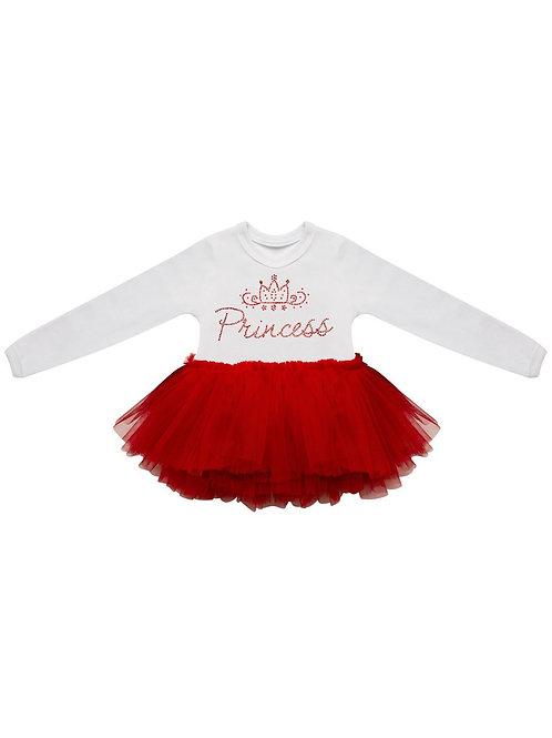 """Боди """"Принцесса"""" с красной юбочкой из фатина"""