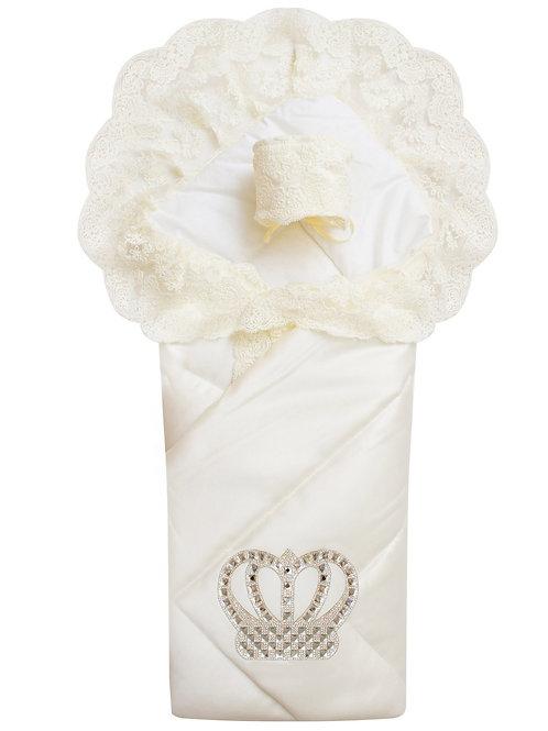 """Конверт-одеяло на выписку """"Империя"""" молочный с молочным кружевом и короной"""