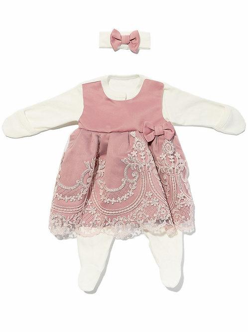 """Платье на выписку для новорожденных """"Герцогиня"""" (Розочка розовый с розовым кружевом)"""