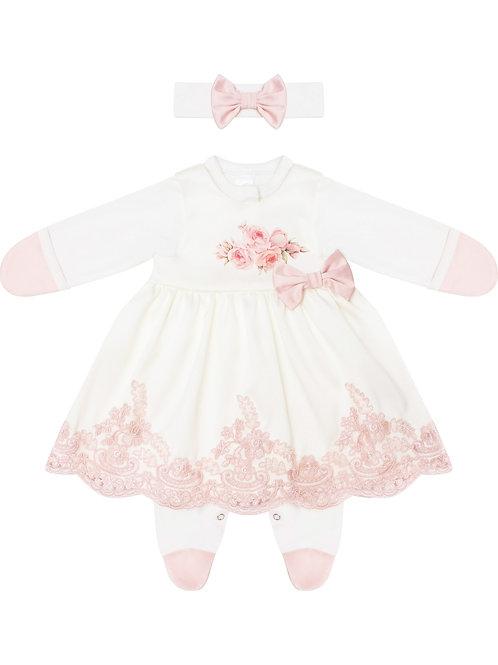 """Красивое платье для девочки на выписку """"Принцесса"""" (розы)"""