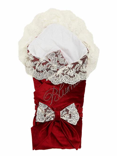 """Конверт-одеяло на выписку """"Блюмарим""""  (бургундия с молочным кружевом, стразами и бантом)"""