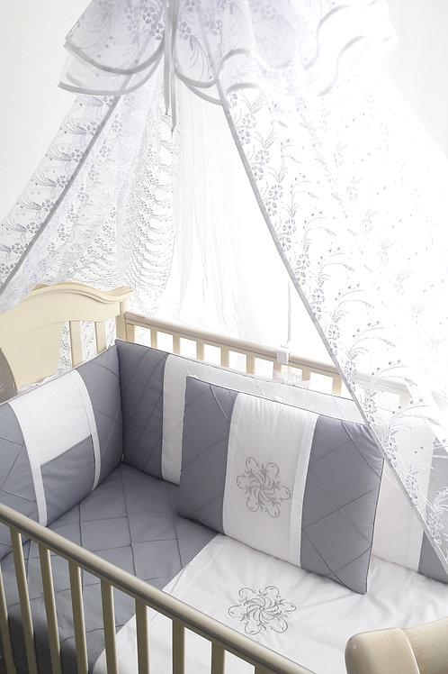 Бортики в кроватку Odelis серый