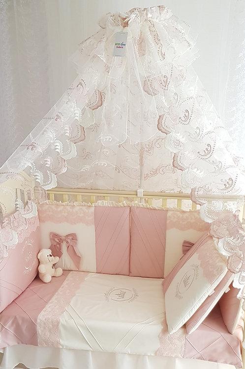 Бортики в кроватку для новорожденных Areseli розовая пудра фото