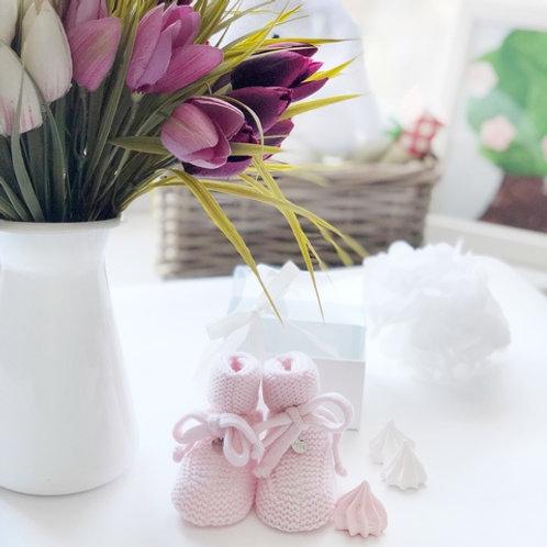 Купить пинетки для новорожденной девочки из мериноса