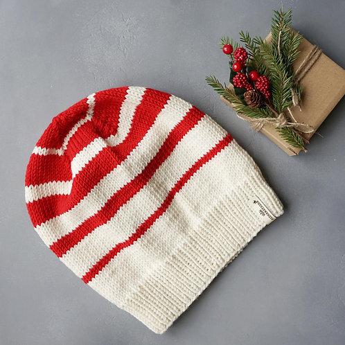 Купить шапку бело-красную