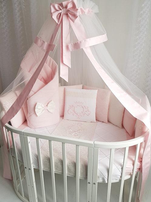 """Бортики подушки в кроватку для новорожденных """"Vinsent"""" pink"""