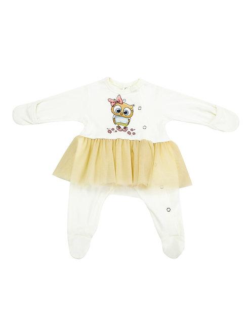 """Одежда для новорожденных девочек -боди на кнопках с бежевой юбочкой """"Совушка"""""""