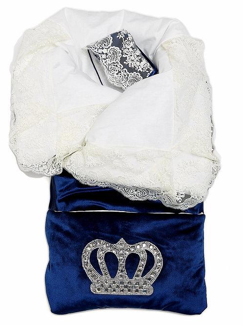 """Конверт-одеяло на выписку """"Императорский"""" (темно-синий с молочным кружевом и большой короной на молнии)"""