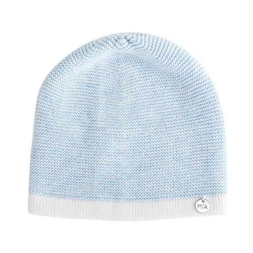 Купить шапочку из хлопка голубую для мальчика