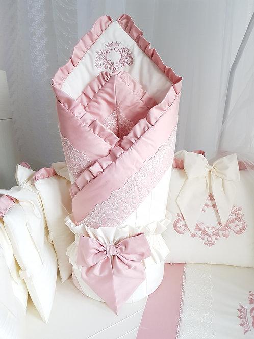 """Детский конверт на выпискуиз роддома """"Cherry Flower"""" розовый"""