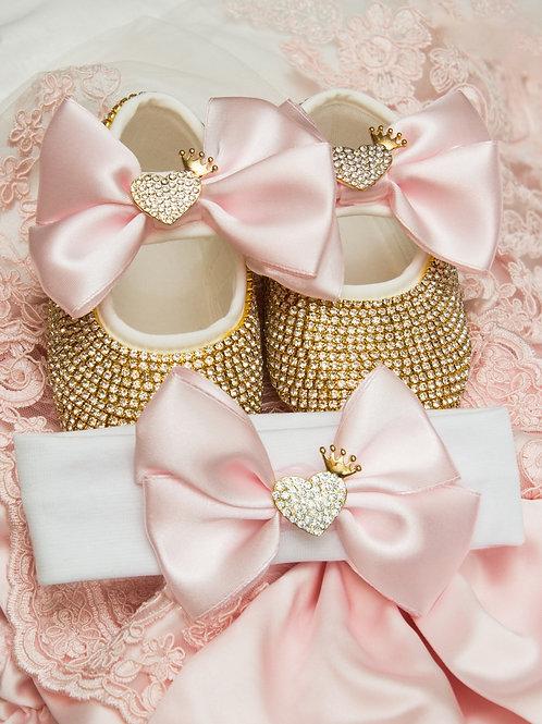 Самые красивые пинетки и повязка со стразами розовый бантик и сердечко
