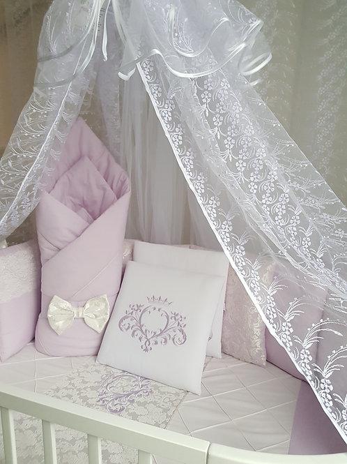 """Бортики подушки в кроватку для новорожденных """"Vinsent"""" сирень"""