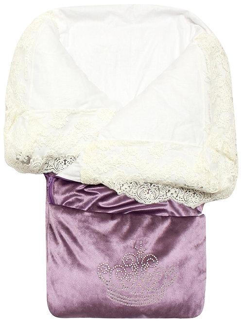 """Конверт-одеяло на выписку """"Герцог"""" (пыльная роза с молочным кружевом и стразами на молнии)"""