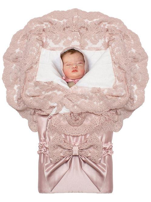 """Конверт-одеяло на выписку """"Миланский"""" утренняя роза с розовым кружевом на молнии"""