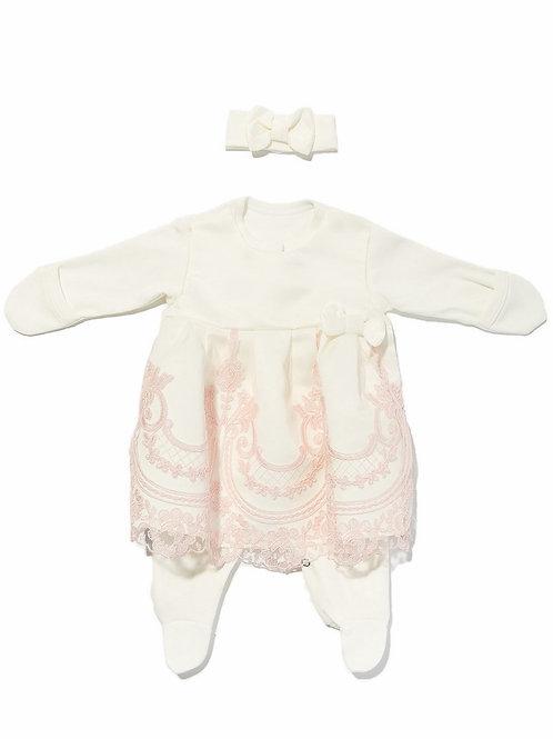 """Платье на выписку для новорожденных """"Герцогиня""""(молочный с розовым кружевом)"""