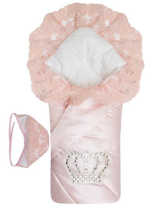 """Конверт-одеяло для девочки """"Империя"""" нежно-розовый Атлас с розовым кружевом"""