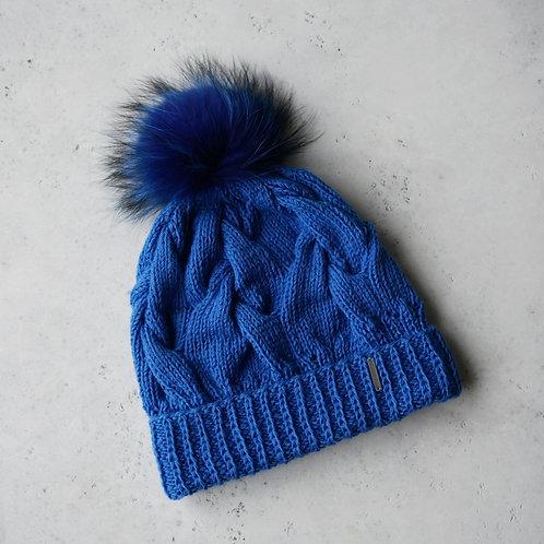 Купить синюю шапку с помпоном
