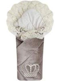 """Конверт-одеяло на выписку с короной """"Императорский""""  (серый с молочным кружевом и большой короной на липучке)"""