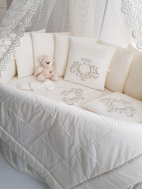 """Бортики подушки в кроватку для новорожденных """"Vinsent бежевый"""""""